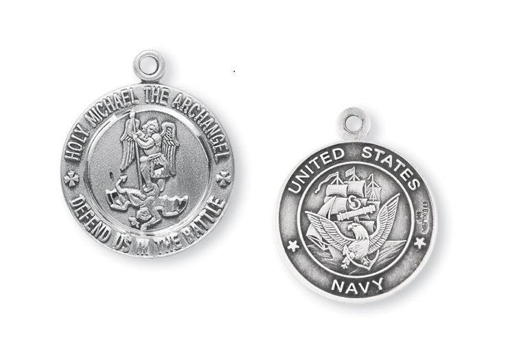 Sterling Silver Navy Medal with Saint Michael on Reverse Side