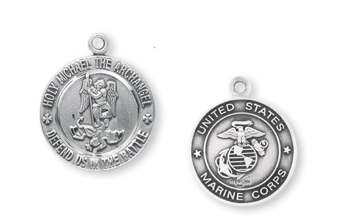 Sterling Silver Marines Medal with Saint Michael on Reverse Side