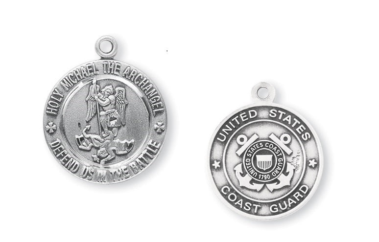 Sterling Silver Coast Guard Medal with Saint Michael on Reverse Side