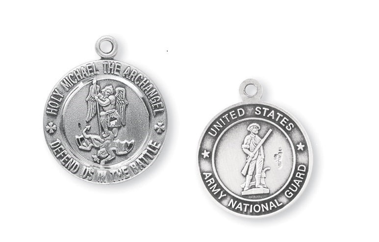 Sterling Silver Army National Guard Medal with Saint Michael on Reverse Side