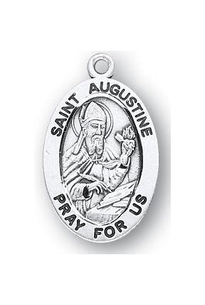 Sterling Silver Oval Shaped Saint Augustine Medal
