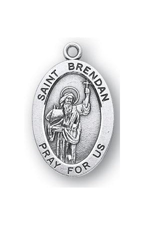 Sterling Silver Oval Shaped Saint Brendan Medal