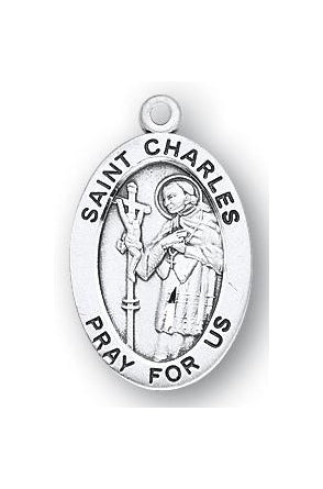 Sterling Silver Oval Shaped Saint Charles Medal