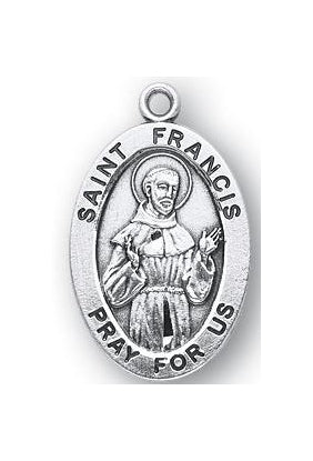 Sterling Silver Oval Shaped Saint Francis Medal