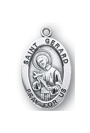 Sterling Silver Oval Shaped Saint Gerard Medal