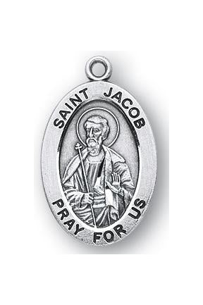 Sterling Silver Oval Shaped Saint Jacob Medal