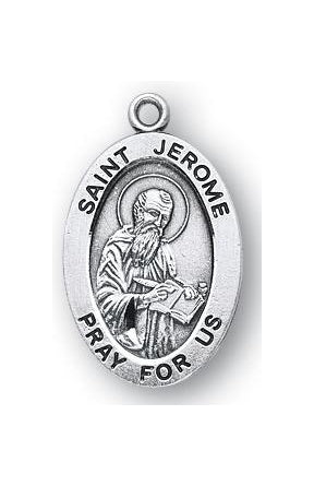 Sterling Silver Oval Saint Jerome Medal
