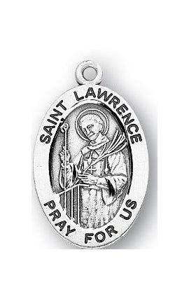 Sterling Silver Oval Shaped Saint Lawrence Medal