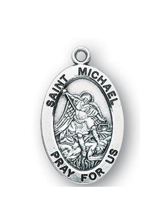 Sterling Silver Oval Shaped Saint Michael Medal