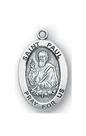 Sterling Silver Oval Shaped Saint Paul Medal