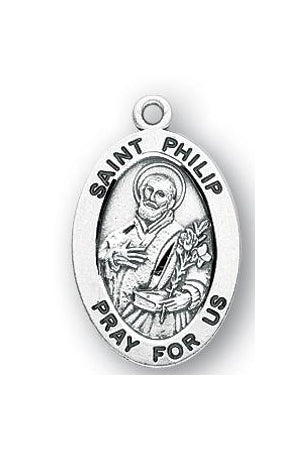 Sterling Silver Oval Shaped Saint Phillip Medal