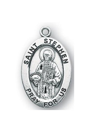 Sterling Silver Oval Shaped Saint Stephen Medal