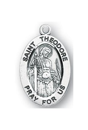 Sterling Silver Oval Shaped Saint Theodore Medal