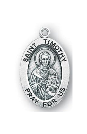 Sterling Silver Oval Shaped Saint Timothy Medal