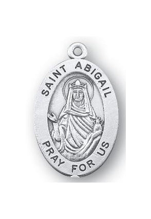 Sterling Silver Oval Shaped Saint Abigail Medal