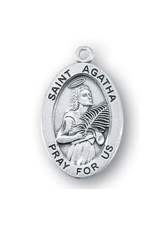 Sterling Silver Oval Shaped Saint Agatha Medal
