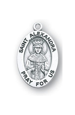 Sterling Silver Oval Shaped Saint Alexandra Medal