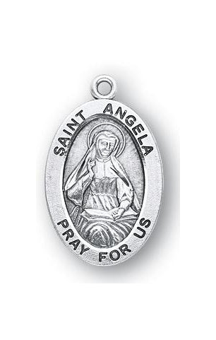 Sterling Silver Oval Shaped Saint Angela Medal