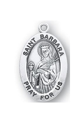 Sterling Silver Oval Shaped Saint Barbara Medal