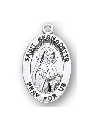 Sterling Silver Oval Shaped Saint Bernadette Medal