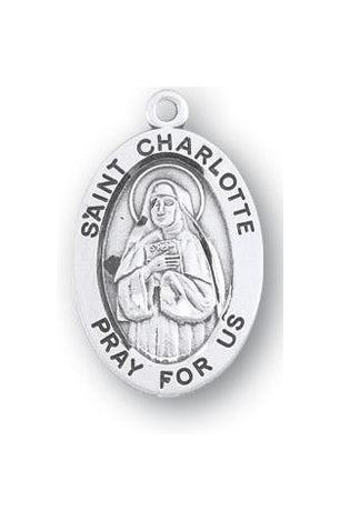 Sterling Silver Oval Shaped Saint Charlotte Medal