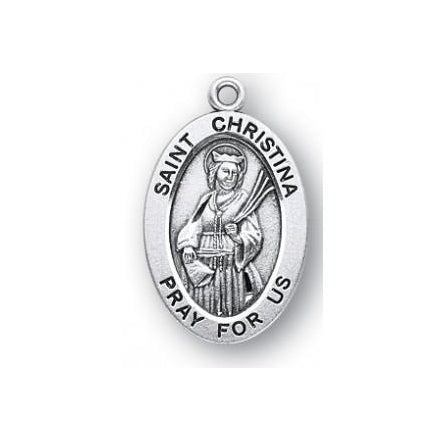 Sterling Silver Oval Shaped Saint Christina Medal