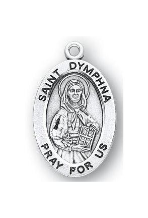 Sterling Silver Oval Shaped Saint Dymphna Medal