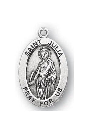 Sterling Silver Oval Shaped Saint Julia Medal