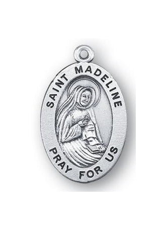 Sterling Silver Oval Shaped Saint Madeline Medal