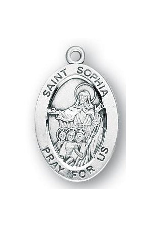 Sterling Silver Oval Shaped Saint Sophia Medal