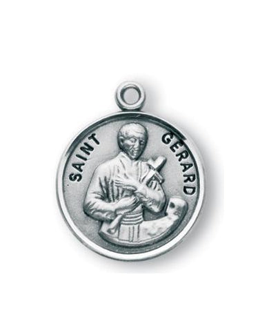 Sterling Silver Round Shaped Saint Gerard Medal