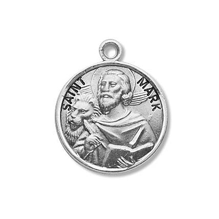 Sterling Silver Round Shaped Saint Mark Medal
