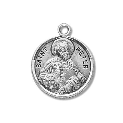 Sterling Silver Round Shaped Saint Peter Medal