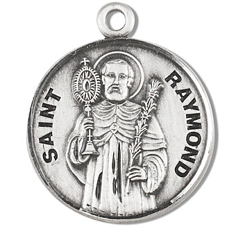 Sterling Silver Round Shaped Saint Raymond Medal