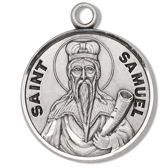 Sterling Silver Round Shaped Saint Samuel Medal