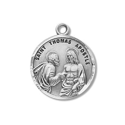 Sterling Silver Round Shaped Saint Thomas Apostle Medal