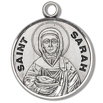 Sterling Silver Round Shaped Saint Sarah Medal