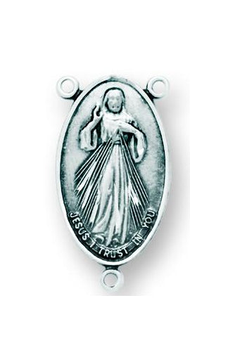 Sterling Silver Divine Mercy Rosary Center