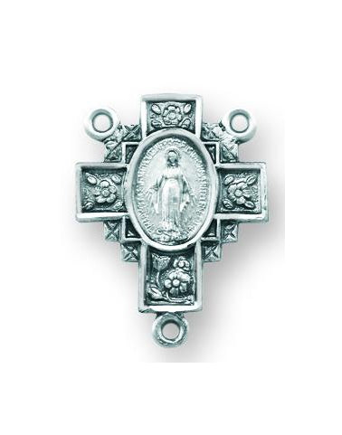 Sterling Silver Miraculous Rosary Center