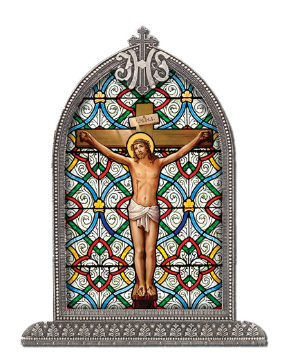 Crucifixion Silver Arch Framed Litergical Art