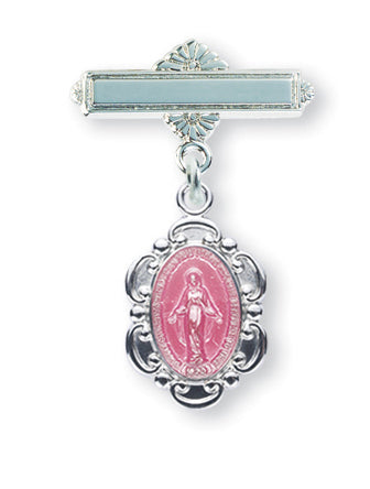 Pink Enameled 1-3/16-inch Oval Sterling Silver Baby Miraculous Medal on a Bar Pin