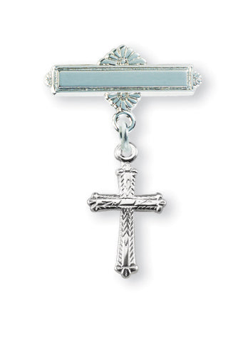 Sterling Silver Detailed Baby Cross Pin