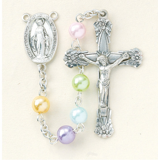 Multi Color Faux Pearl Rosary - Engravable