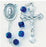 Czech Tin Cut Caribbean Blue Crystal Cube Sterling Rosary - Engravable