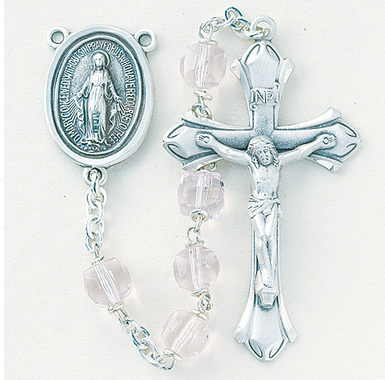 Tin Cut Light Rose Crystal Cube Sterling Rosary - Engravable