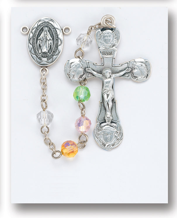 Tin Cut Multi Color Crystal Rosary - Engravable