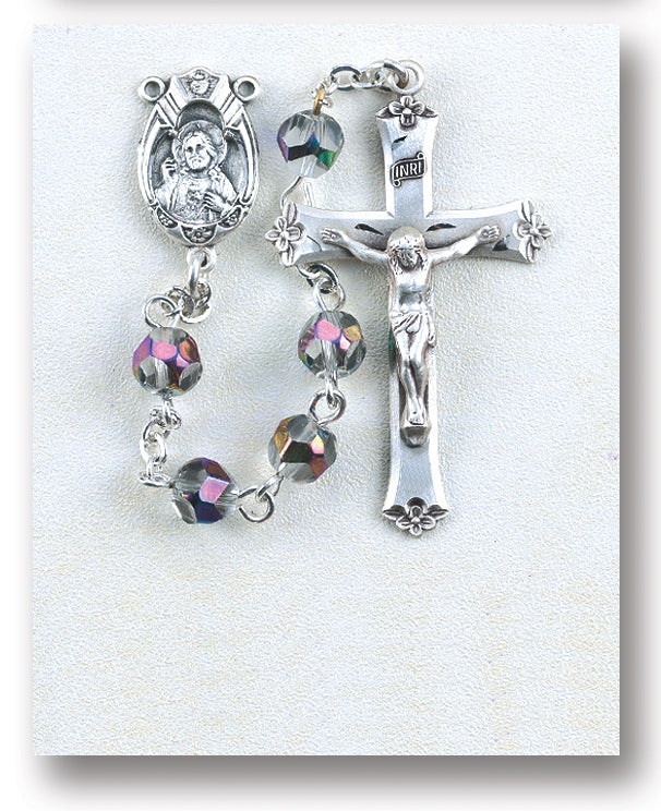 Metallic Multi Color Helix Crystal Rosary - Engravable