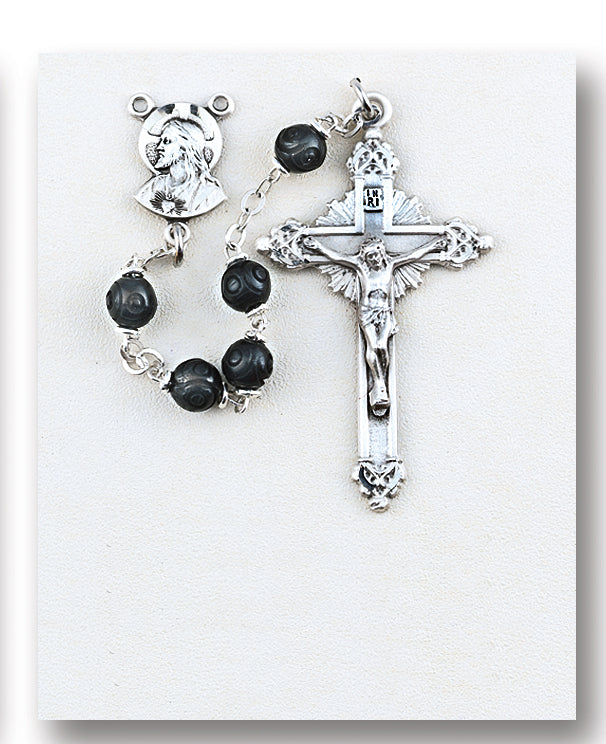 Black Carved Genuine Cocoa Rosary - Engravable