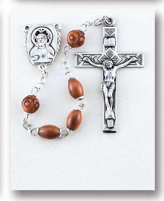 Brown Oval Genuine Cocoa Rosary - Engravable