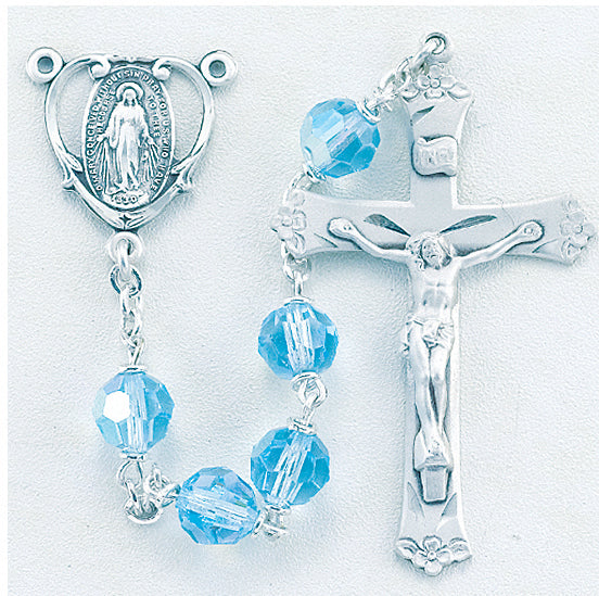 Tin Cut CZech Aqua Crystal Rosary - Engravable